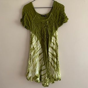 Embroidered Green Hippie Tunic